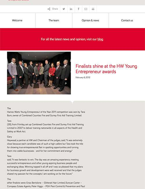Finalists shine at the HW Young Entrepreneur awards